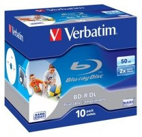 Verbatim BD-R Blu-Ray/DL 50GB/6x Wide Pprintable Box 10ks