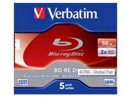 Blu-ray BD-RE DL Verbatim 50GB 2x jewel box, 5ks/pack (43760)