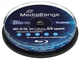 MEDIARANGE BD-R BLU-RAY 50GB 6x DoubleLayer PRINTABLE spindl 10pck/bal