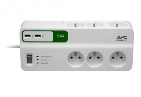 APC Essential SurgeArrest 6 outlets s 5V,2.4A 2 port USB charger,230V France (PM6U-FR)
